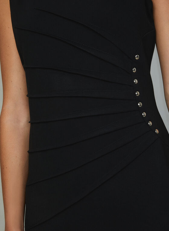 Studded Sleeveless Sheath Dress, Black, hi-res