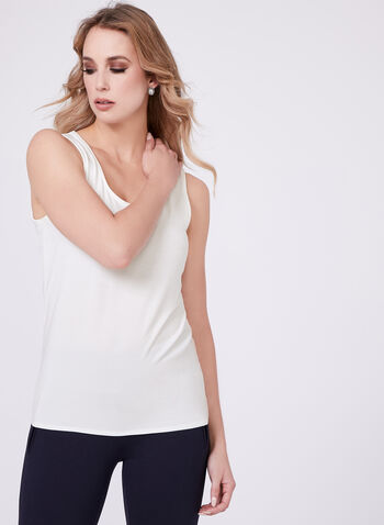 Sleeveless Scoop Neck Cami, Off White, hi-res