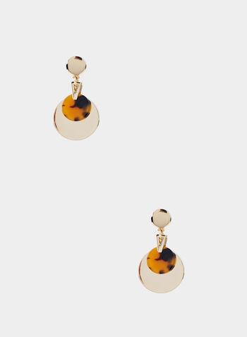 Tort Metal Disc Pendant Earrings, Brown, hi-res,  hoop earrings, dangle earrings, tortoise shell jewellery