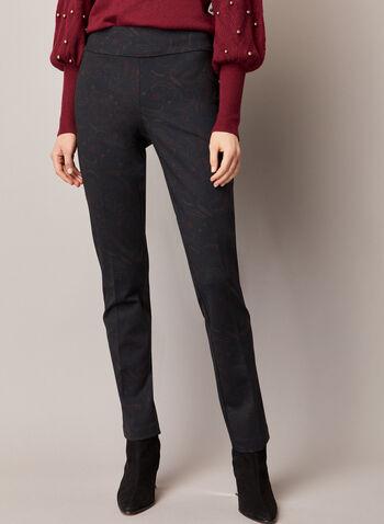 Pantalon Madison à motif cachemire, Noir,  automne hiver 2020, pantalon, à enfiler, taille élastique, pull-on, jambe étroite, Madison, motif, cachemire, point de Rome