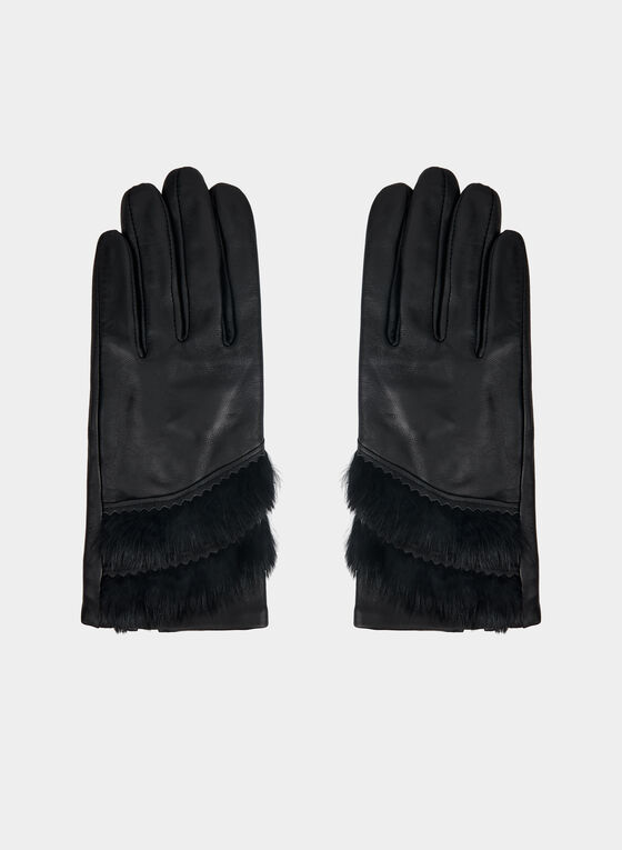 Genuine Leather Glove With Faux Fur, Black