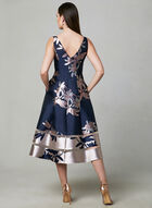Adrianna Papell - Floral Print Fit & Flare Dress, Blue, hi-res