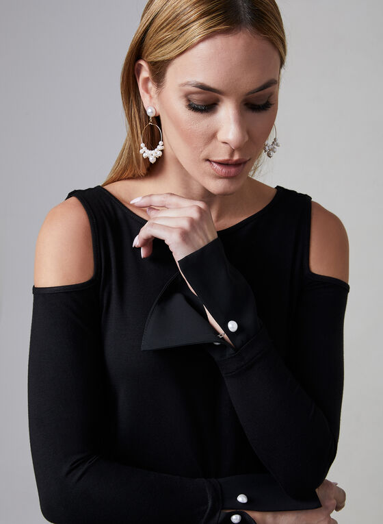Cold Shoulder Fooler Top, Black, hi-res