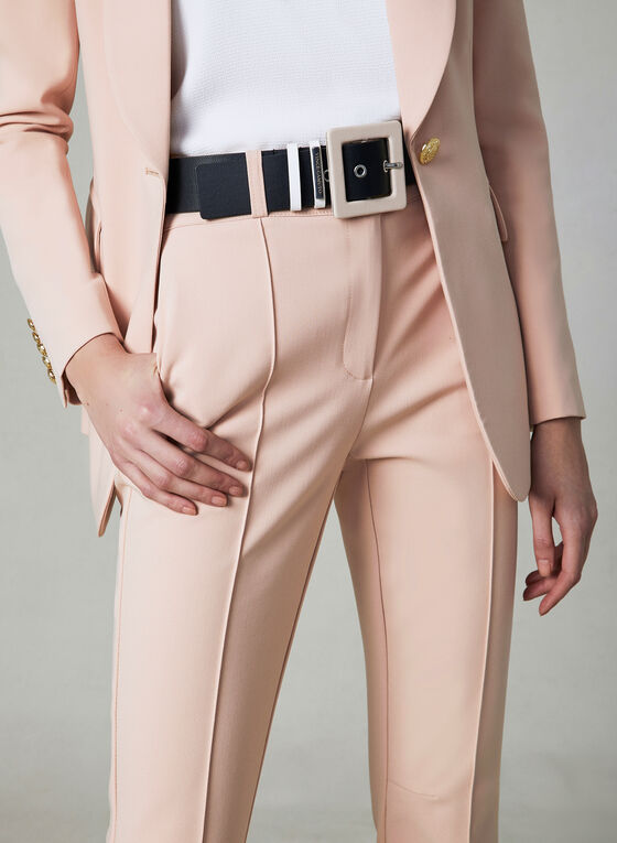 Pantalon à jambe étroite et détails coutures, Rose, hi-res