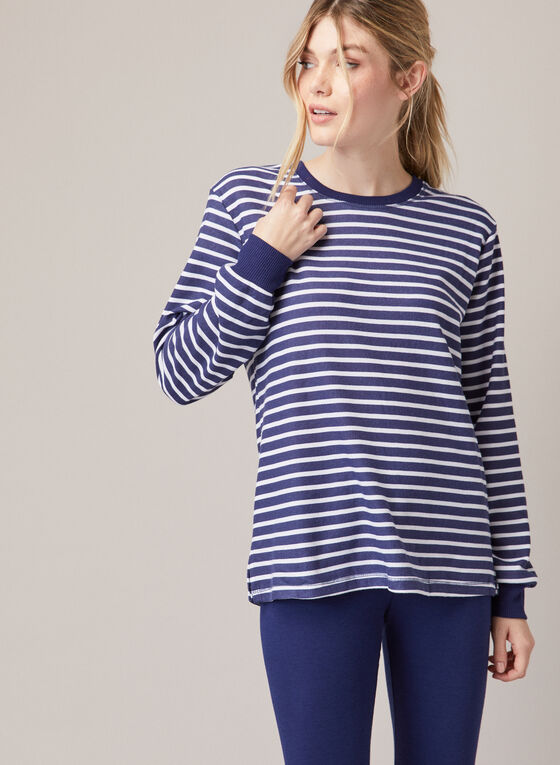 Stripe Print Pyjama Set, Blue