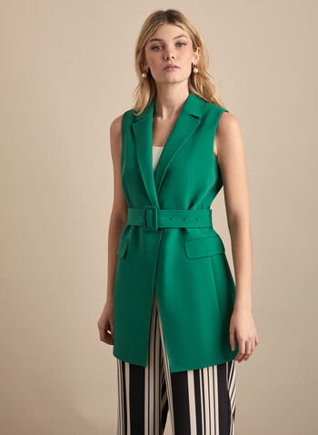 Long Belted Vest, Green,  spring summer 2020, sleeveless, pointed collar, crepe fabric, button front