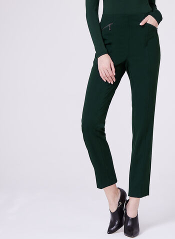 Bi-Stretch Slim Leg 7/8 Pants, Green, hi-res