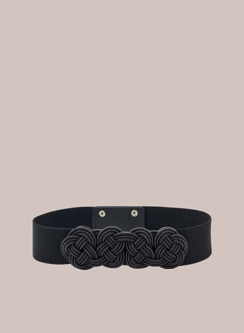 Braid Front Elastic Belt, Black,  belt, braid front, elastic, fall winter 2020