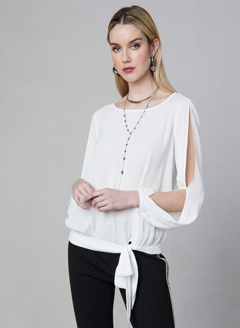 Tie Detail Blouse, Off White, hi-res