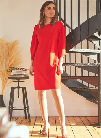 Vince Camuto - Bubble Sleeve Day Dress, Red,  dress, day, bubble sleeves, 3/4 sleeves, round neck, ponte di roma, crepe