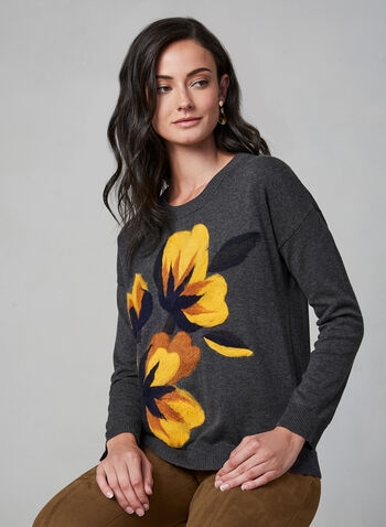Spanner - Floral Detail Cotton Sweater, Grey, hi-res,  fall winter 2019, cotton, fleece, long sleeve, knit