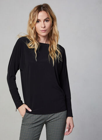 Dolman Sleeve Top, Black, hi-res,  boat neck, long sleeves, jersey, fall winter 2019