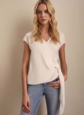 Cap Sleeve Blouse, Off White,  blouse, top, v-neck, cap sleeves, short sleeves, spring top, spring 2020, summer 2020