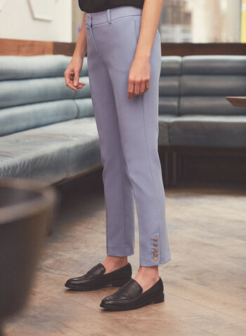 Giselle High Rise Pants, Blue,  pants, giselle pants, slim ankle, high rise pants, metallic, buttons, spring summer 2021