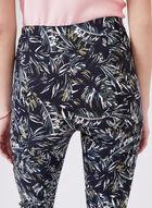 Palm Print Pull-On Capri Pants, Black, hi-res