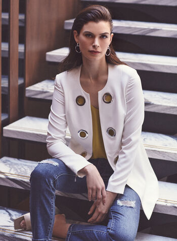 Vex - Blazer style redingote à œillets, Blanc cassé,  blazer, redingote, manches longues, œillets, printemps été 2020