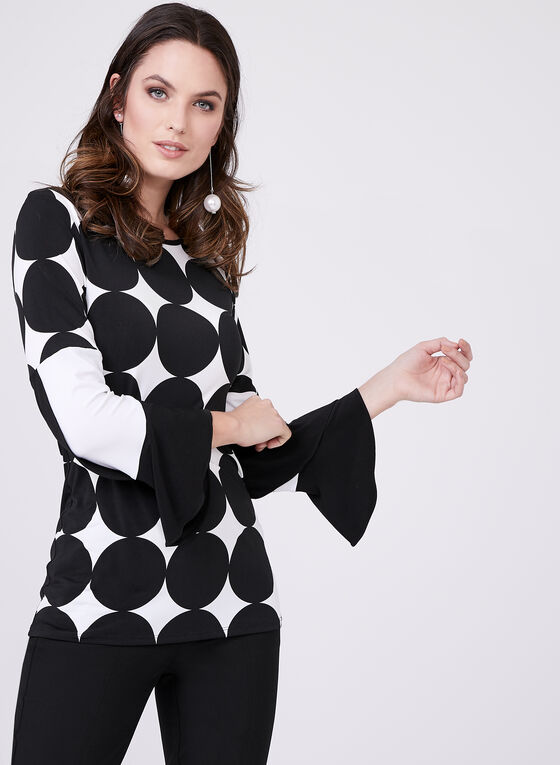 Polka Dot Bell Sleeve Blouse, Black, hi-res