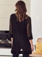 3/4 Sleeve Mesh Cardigan, Black