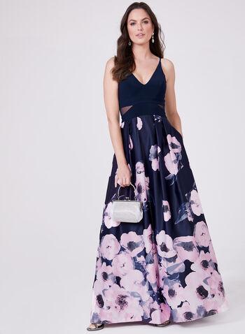 BA Nites - Robe ajustée et évasée avec jupe fleurie, Bleu, hi-res