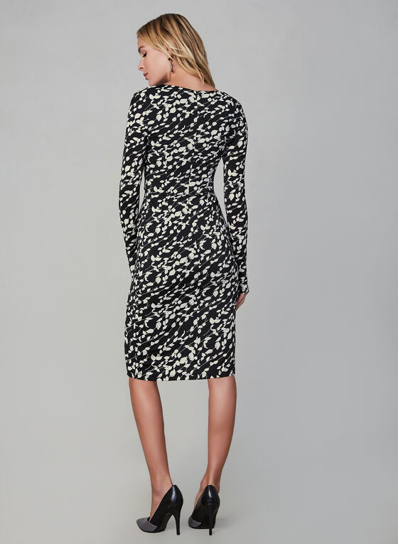 Smashed Lemon - Long Sleeve Contrast Print Dress, Black