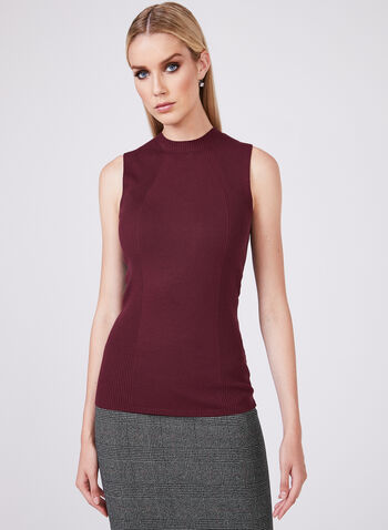 Sleeveless Knit Top, Red, hi-res