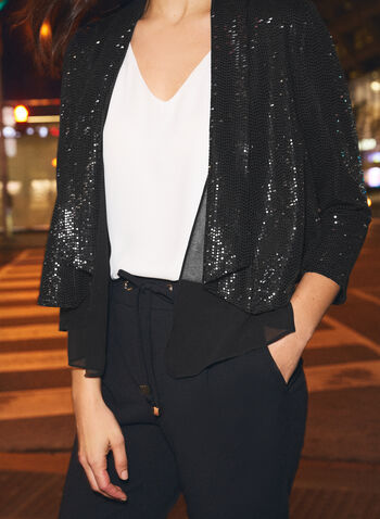 Open Front Sequin Jacket, Grey,  fall winter 2020, jacket, sequin, open front, shawl collar, sequin, chiffon, muslin, holiday, holiday 2020, 3/4 sleeves
