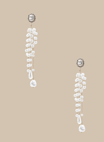 Crystal & Pearl Chandelier Earrings, Off White,  spring summer 2020, pearl, crystal, chandelier earrings