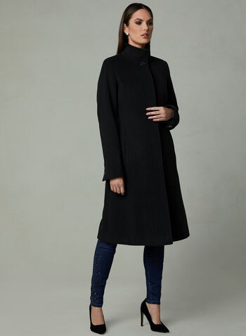 Mock Collar Cashmere Coat, Black, hi-res