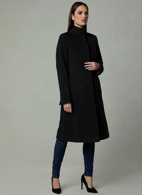 Mock Collar Cashmere Coat, Black, hi-res