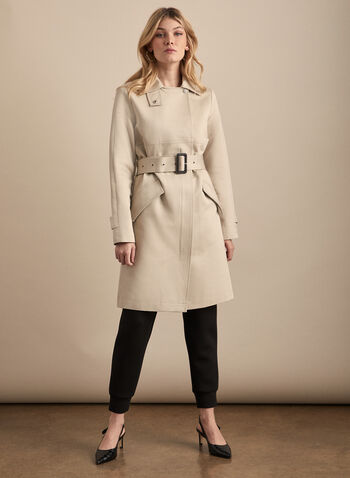 Novelti - Belted Front Zip Trench Coat, Grey,  coat, trench, belt, zipper, notch collar, spring summer 2020