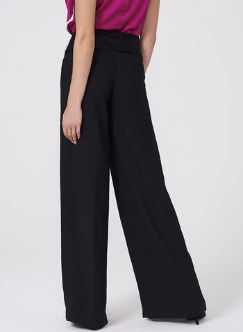 Wide Leg Crepe Pants, Black, hi-res