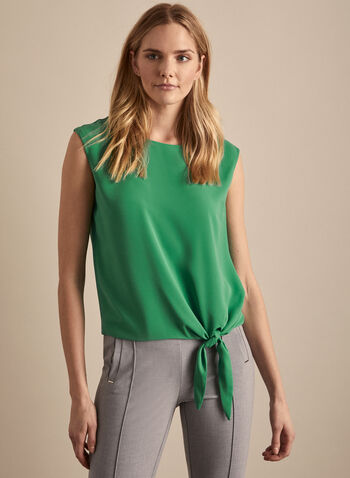 Tie Front Top, Green,  fall winter 2019, crepe, sleeveless, blouse