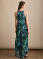 Tropical Print Maxi Dress, Black