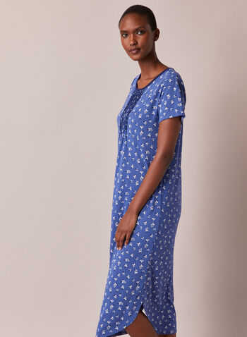 Floral Print Pleated Detail Nightgown, Blue,  pyjama, nightgown, nightshirt, floral, pleated, short sleeves, fall winter 2020