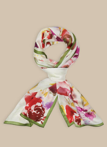 Floral Print Silk Scarf, Multi,  scarf, lightweight, silk, floral, contrast, spring summer 2020