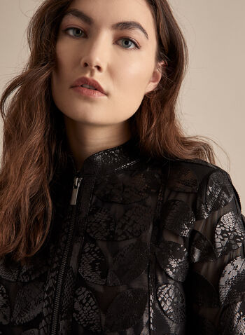 Joseph Ribkoff - Leaf Detail Mesh Jacket, Black,  jacket, open, zipper, mesh, shoulder pads, applique, leaves, long sleeve
