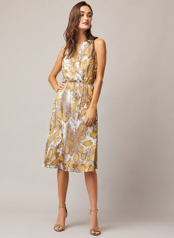 Snake Print Chain Belt Dress, Multi,  cocktail dress, snake, sleeveless, chiffon, fall winter 2020