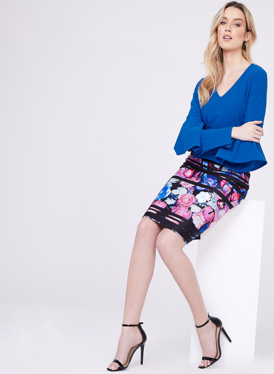 Frank Lyman - Floral Print Pencil Skirt, Black, hi-res