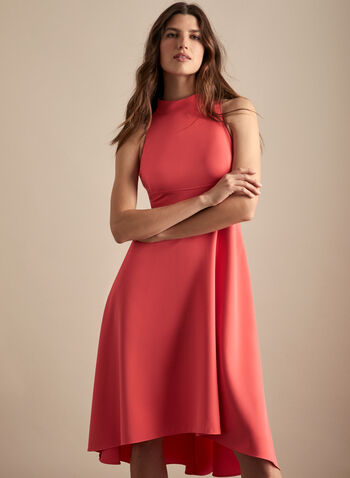 Vince Camuto - High Low Crepe Dress, Orange,  spring summer 2020, Vince Camuto, fit & flare, crepe fabric, high-low hem