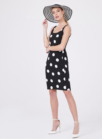 Karl Lagerfeld Paris - Polka Dot Print Sheath Dress, Black, hi-res
