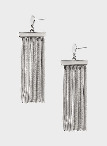 Waterfall Pendant Drop Earrings, Silver, hi-res