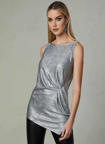 Metallic Sleeveless Top, Silver, hi-res