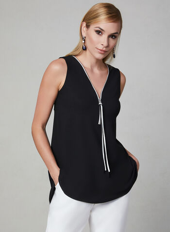 Sleeveless Zipper Trim Top, Black, hi-res