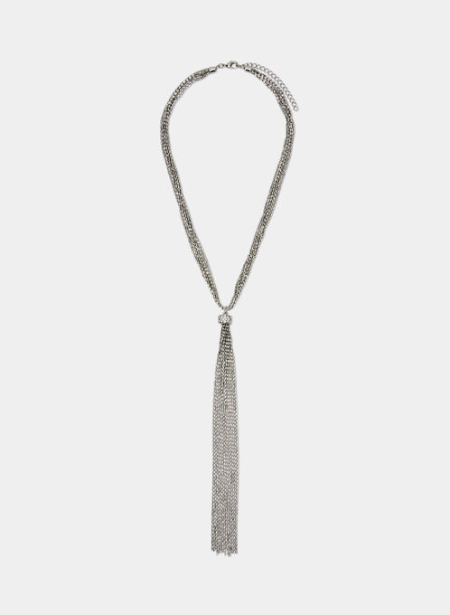 Chain Tassel Necklace, Silver, hi-res