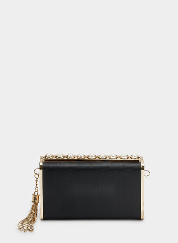 Pearl Detail Clutch, Black,  tassel, metallic, box clutch