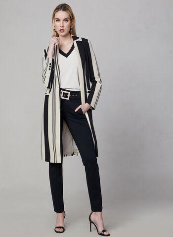 Stripe Print Long Jacket, Black, hi-res,  long sleeves, notch collar, spring 2019