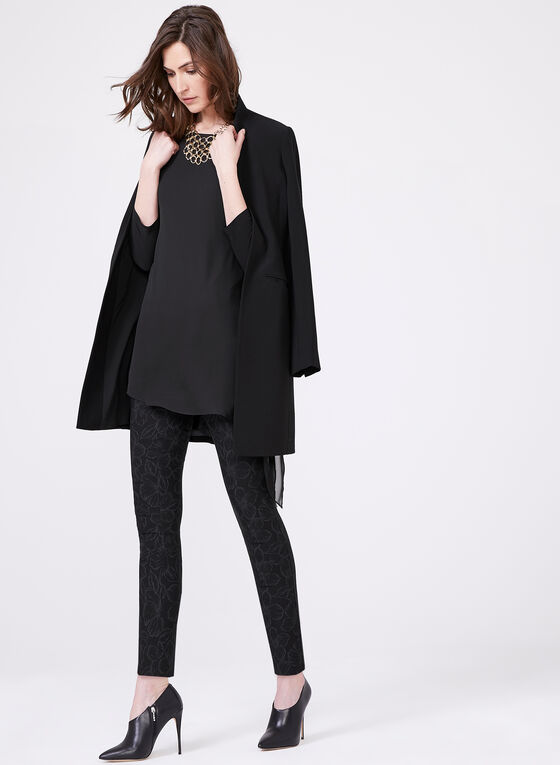 Tunique asymétrique en mousseline et jersey, Noir, hi-res