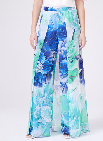 Frank Lyman – Floral Print Panel Pants, Blue, hi-res