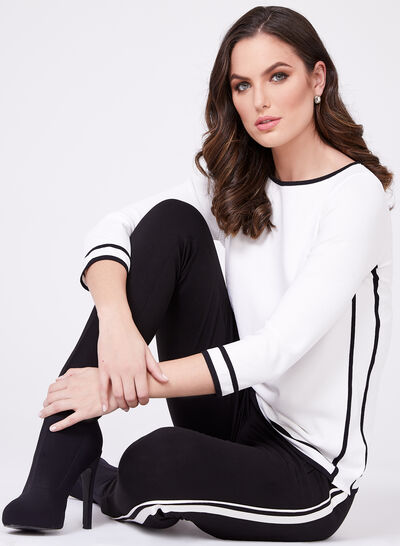 Contrasting Trim Knit Sweater