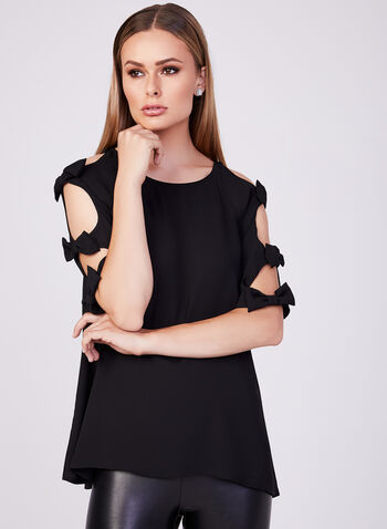 Joseph Ribkoff - Bow Detail Crepe Top, Black, hi-res